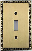 Egg And Dart Antique Brass Forged Single Toggle Switchplate / Cover Plate