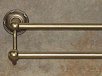 "Edwardian Ribbon Backplate 30"" Double Towel Bar in German Bronze"