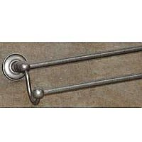 "Edwardian Plain Backplate 24"" Double Towel Bar in Antique Pewter"