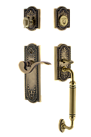 Meadows Complete Exterior and Manor Interior Handleset With Deadbolt - Multiple Finish and Interior Knob Options - C Grip