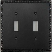 Egg And Dart Oil Rubbed Bronze Forged Double Toggle Switchplate / Cover Plate