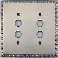 Egg And Dart Satin Nickel Forged Double Pushbutton Switchplate / Cover Plate