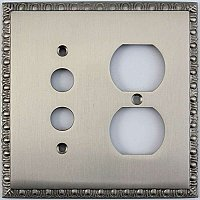 Egg And Dart Satin Nickel Forged Pushbutton / Duplex Switchplate / Cover Plate