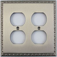 Egg And Dart Satin Nickel Forged Double Duplex Switchplate / Cover Plate