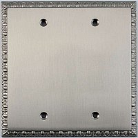 Egg And Dart Satin Nickel Forged Double Blank Switchplate / Cover Plate
