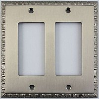 Egg And Dart Satin Nickel Forged Double GFCI Switchplate / Cover Plate