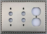 Egg And Dart Satin Nickel Forged Double Pushbutton / Single Duplex Switchplate / Cover Plate
