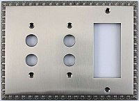 Egg And Dart Satin Nickel Forged Double Pushbutton / Single GFCI Switchplate / Cover Plate