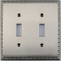 Egg And Dart Satin Nickel Forged Double Toggle Switchplate / Cover Plate