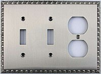 Egg And Dart Satin Nickel Forged Double Toggle / Single Duplex Switchplate / Cover Plate