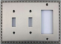 Egg And Dart Satin Nickel Forged Double Toggle / Single GFCI Switchplate / Cover Plate