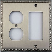 Egg And Dart Satin Nickel Forged Duplex / GFCI Switchplate / Cover Plate