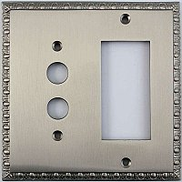 Egg And Dart Satin Nickel Forged Pushbutton / GFCI Switchplate / Cover Plate