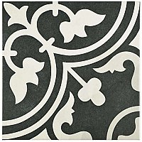 "Arte Black 9-3/4""x 9-3/4"" Porcelain Tile - Black/Gray- Per Case- 11.11 Square Feet"