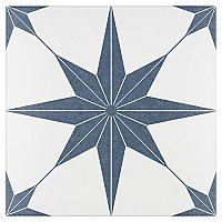 "Stella Azul Blue and White 9-3/4"" x 9-3/4"" Ceramic Tile - Sold Per Case of 16 - 11.11 Square Feet Per Case"