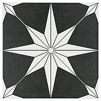 "Stella Night Black and White 9-3/4"" x 9-3/4"" Ceramic Tile - Sold Per Case of 16 - 11.11 Square Feet Per Case"