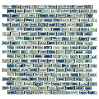 "Rustica Subway Neptune Blue 11-3/4"" x 11-3/4"" Porcelain Mosaic Tile - Blue - Per Sheet - .96 Square Feet"