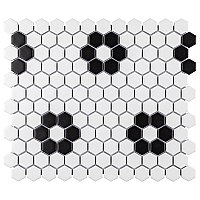 "Metro 1"" Matte Porcelain Hex  Mosaic Tile - White with Heavy Black Flowers - Sold Per Case of 10 - 8.65 Square Feet"