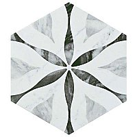 "Classico Bardiglio Hexagon Flower 7"" x 8"" Porcelain Tile - Sold Per Case of 25 Tile - 7.67 Square Feet Per Case"