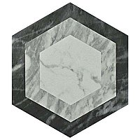 "Classico Bardiglio Hexagon Geo 7"" x 8"" Porcelain Tile - Sold Per Case of 25 Tile - 7.67 Square Feet Per Case"