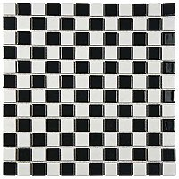 "Black & White Glossy Checkerboard Square 13"" x 13"" Porcelain Tile - Per Case of 10 - 11.96 Sq. Ft."