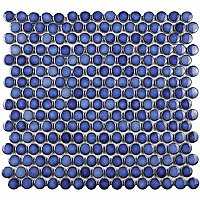 "Hudson Penny Round 3/4"" Glazed Porcelain Mosaic Tile - Sapphire Blue - Per Sheet - 1.02 Square Feet"