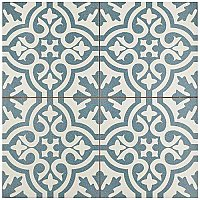 "Berkeley Blue 17-5/8"" x 17-5/8"" Ceramic Tile - Blue & White - Per Case - 11.10 Square Feet"