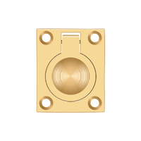 "Solid Brass Square Flush Ring Pull - 1-3/4"" - Multiple Finishes"