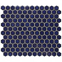 "Tribeca 1"" Hex Glossy Cobalt Blue Porcelain Mosaic Tile - Sold Per Case of 10 Sheets - 8.65 Square Feet Per Case"