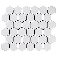 "Chelsea Gloss Cool White 2"" Hexagon Porcelain Mosaic Tile - Sold Per Case of 10 Sheets - 9.64 Square Feet Per Case"