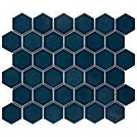 "Tribeca 2"" Hex Glossy Glacier Blue Porcelain Mosaic Tile - Sold Per Case of 10 Sheets - 9.96 Square Feet Per Case"