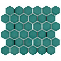 "Tribeca 2"" Hex Glossy Jade Green Porcelain Mosaic Tile - Sold Per Case of 10 Sheets - 9.96 Square Feet Per Case"