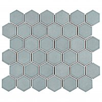 "Tribeca 2"" Hex Glossy Gray Mist Porcelain Mosaic Tile - Sold Per Case of 10 Sheets - 9.96 Square Feet Per Case"