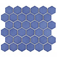 "Tribeca 2"" Hex Glossy Periwinkle Blue Porcelain Mosaic Tile - Sold Per Case of 10 Sheets - 9.96 Square Feet Per Case"