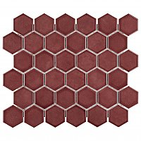 "Tribeca 2"" Hex Glossy Rusty Red Porcelain Mosaic Tile - Sold Per Case of 10 Sheets - 9.96 Square Feet Per Case"