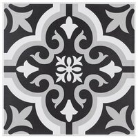 "Braga Classic II 7-3/4"" x 7-3/4"" Ceramic Tile - Gray & Black - Per Case - 10.76 Square Feet"