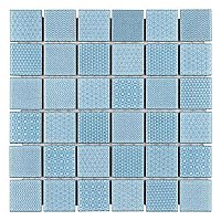 "Celadon Aqua Porcelain Mosaic Tile 11-5/8"" x 11-5/8""  - Sold Per Case of 10 - 9.59 Sq Ft Per Case"