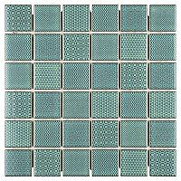 "Celadon Emerald Porcelain Mosaic Tile 11-5/8"" x 11-5/8""  - Sold Per Case of 10 - 9.59 Sq Ft Per Case"