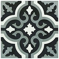 "Cemento Braga Luna 7-7/8"" x 7-7/8"" Handmade Ceramic Tile - Gray & Black - Per Case - 10.76 Square Feet"
