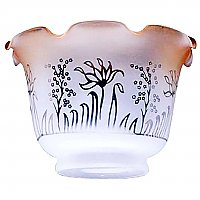 "Clear Etched Glass Shade with Amber Spray - 4"" Fitter"