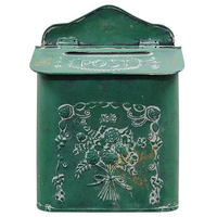 Distressed Green Post Mail Box - Wall Mount