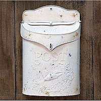 White Distressed Metal Post Mail Box