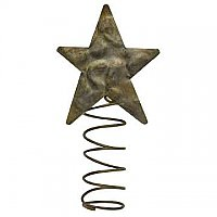 Hammered Metal Star Tree Topper, Small 5""