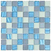 "Atlantis 1-1/4"" Square Glass Tile - Abalone - .96 Square Feet Per Sheet"