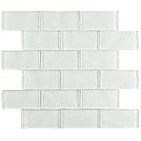 "Tessera Ripple Super White 11-3/4"" x11-3/4"" Glass Mosaic Tile -White - Per Sheet - .96 Square Feet"