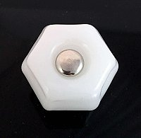 "Milk White 1-1/2"" Glass Hexagonal Knob, Front Mounted"