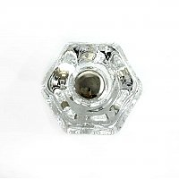 "Clear Glass Hexagonal Knob, 1-1/4"", Front Mounted"