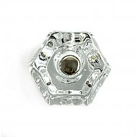 "Clear Glass Hexagonal Knob, 1-1/2"", Front Mounted"