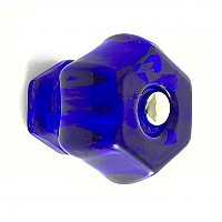 "Cobalt Blue 1-1/2"" Glass Hexagonal Knob, Front Mounted"