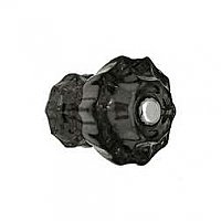 "Black Fluted Glass Knob - 1"" Diameter - Small"
